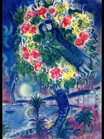 """Marc Chagall """"Städte, Paar und Fisch"""""""