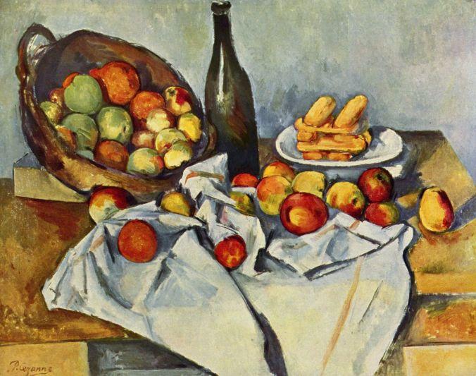 """Paul Cézanne """"Stilleben mit Flasche und Apfelkorb"""""""